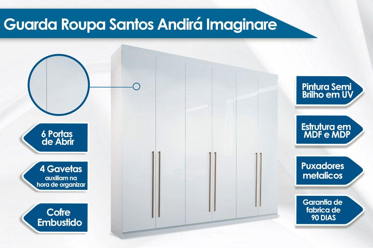 Guarda Roupa Santos Andirá Imaginare c/ 6 Portas e 4 Gavetas