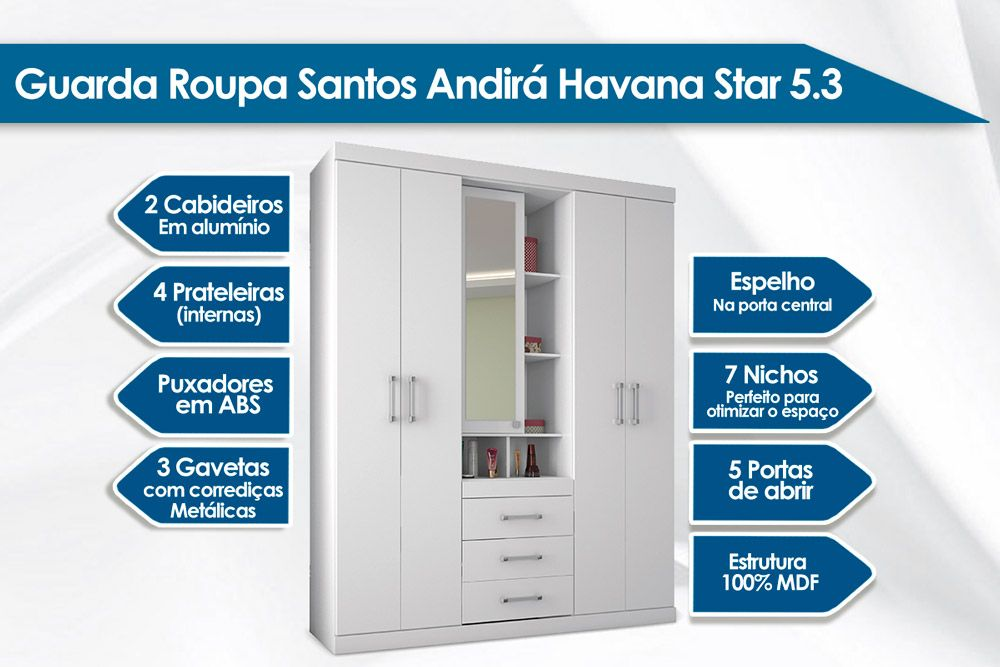Guarda Roupa Santos Andirá Havana Star 5.3