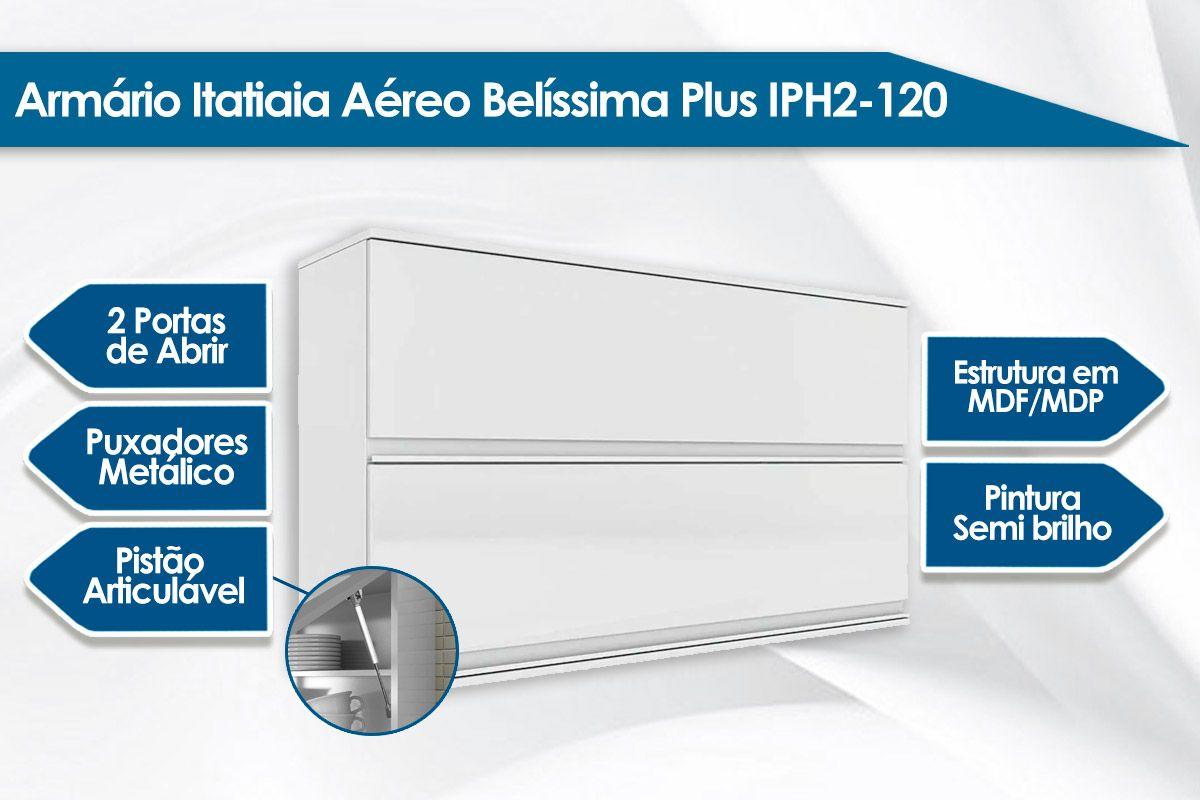 Armário de Cozinha Itatiaia Belíssima Plus IPH2-120 Madeira Horizontal 2 Portas