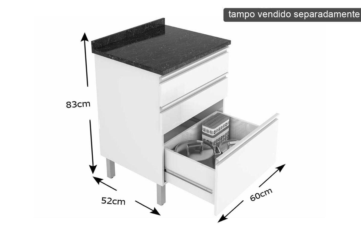 Gabinete de Cozinha Itatiaia Belíssima Plus IGG3-60 ST Madeira 3 Gav