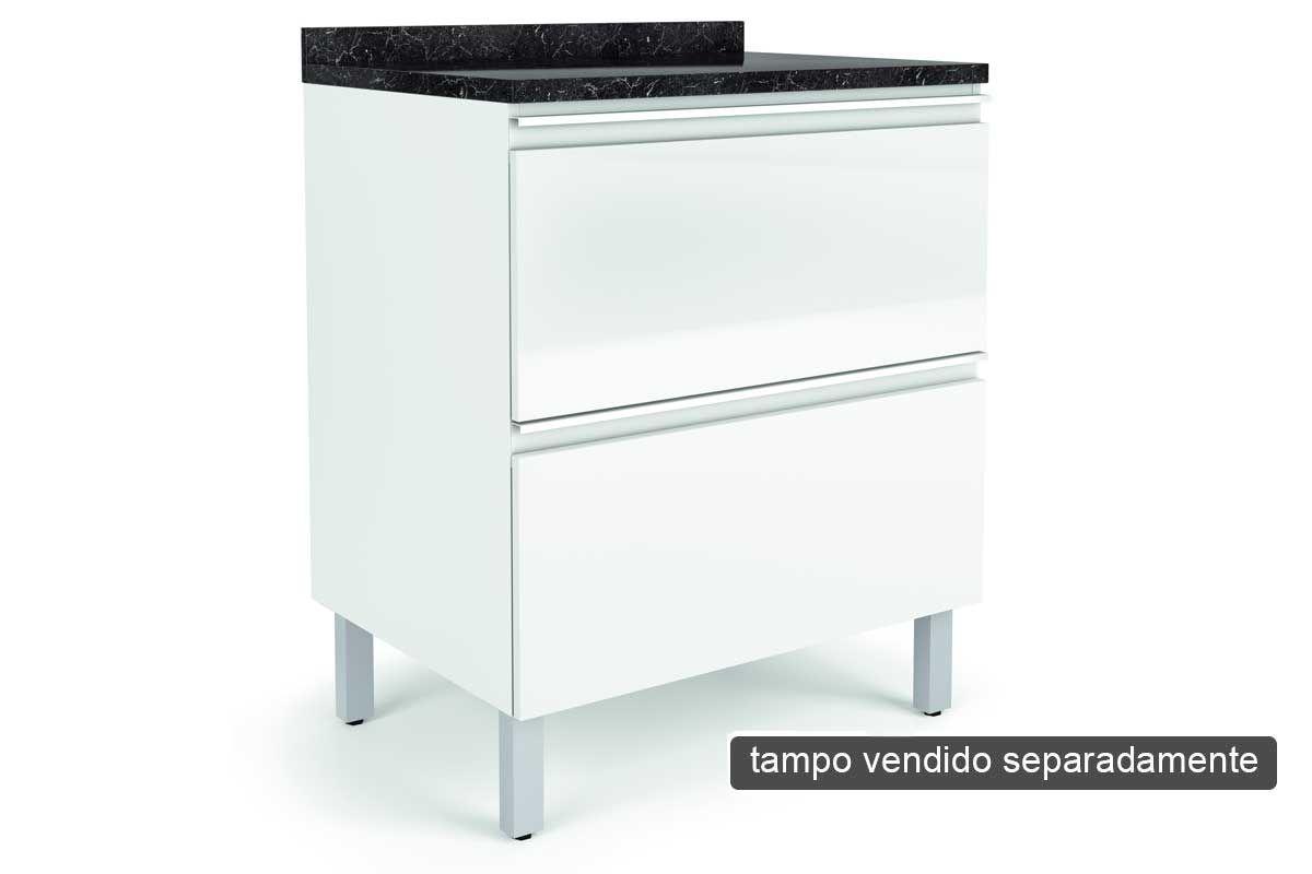Gabinete de Cozinha Itatiaia Belíssima IGH2-70 Madeira Horizontal 2 Ptas s/TampoCor Branco Lacca