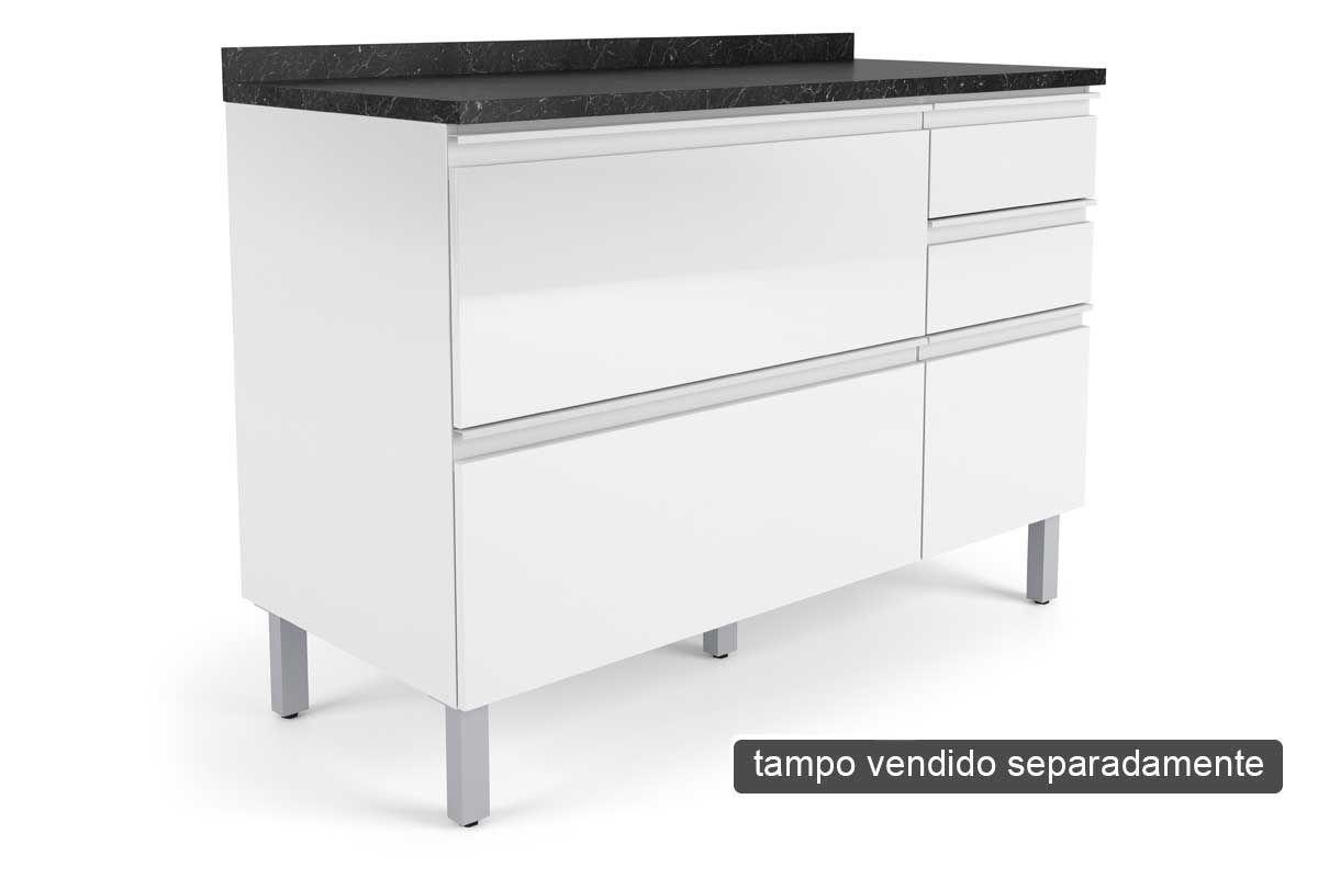 Gabinete de Cozinha Itatiaia Belíssima Plus IGG3H2-120 Madeira Horizontal 2 Ptas e 3 Gav s/TampoCor Branco Lacca