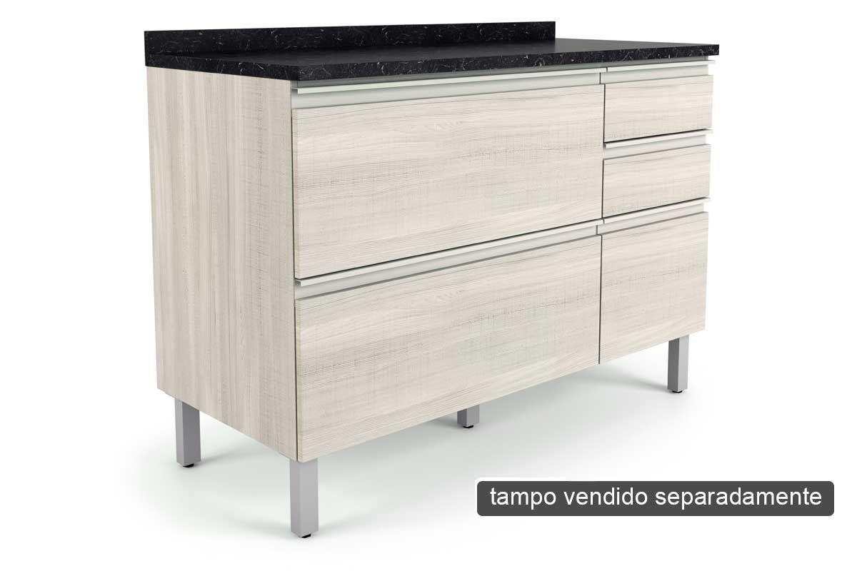 Gabinete de Cozinha Itatiaia Belíssima Plus IGG3H2-120 Madeira Horizontal 2 Ptas e 3 Gav s/TampoCor Saara Wood Lacca
