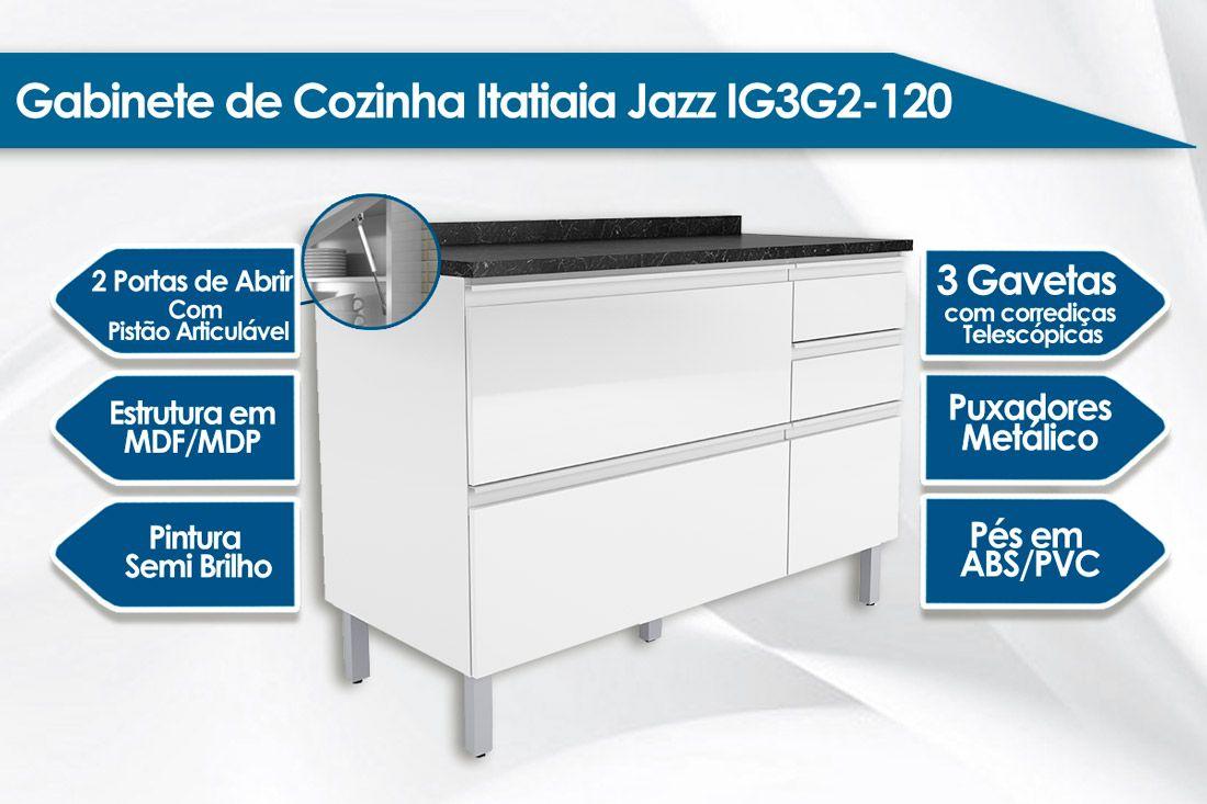 Gabinete de Cozinha Itatiaia Belíssima Plus IGG3H2-120 Madeira Horizontal 2 Ptas e 3 Gav s/Tampo