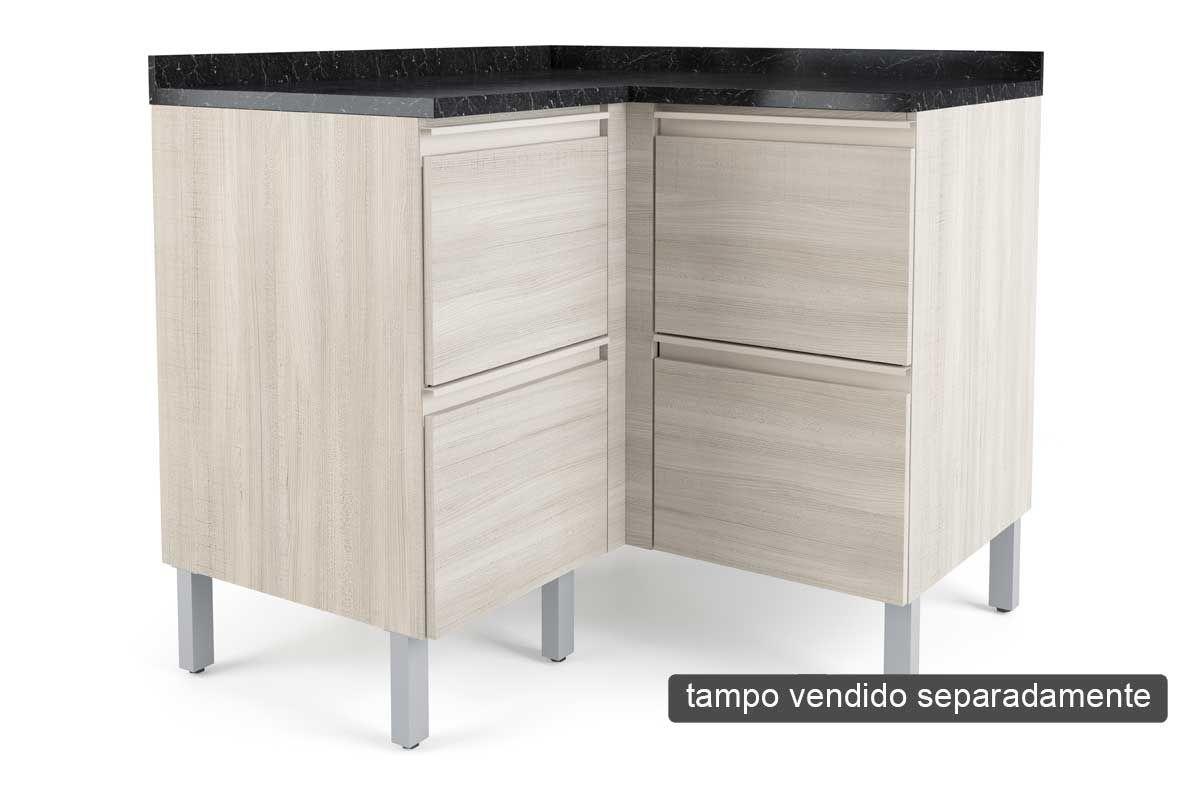 Gabinete de Cozinha Itatiaia Belíssima Plus IGCR Madeira Canto Reto 4 Ptas s/TampoCor Saara Wood Lacca