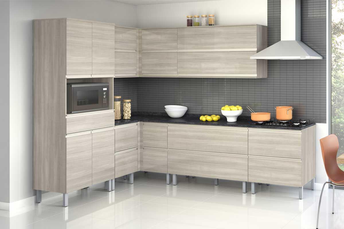 Gabinete de Cozinha Itatiaia Belíssima Plus IGCR Madeira Canto Reto 4 Ptas s/Tampo