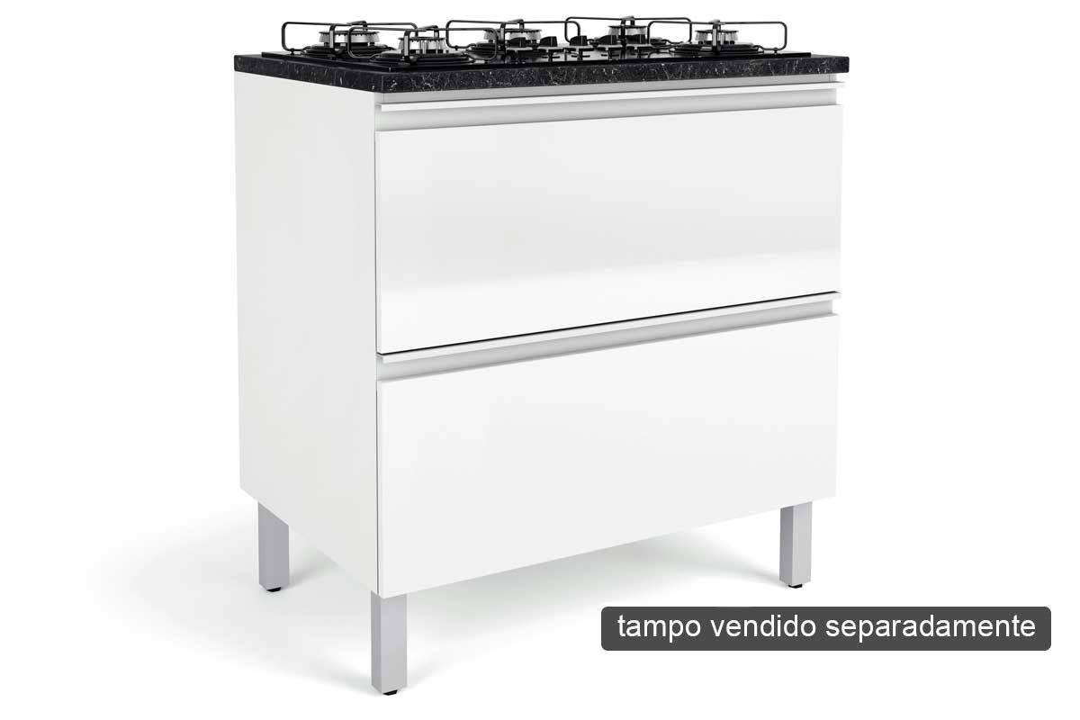 Gabinete Cooktop de Cozinha Itatiaia Belíssima Plus IGH2-80 COOK Madeira Horizontal 2 Ptas 4 ou 5 Bocas s/Tampo - Cor Branco LaccaCor Branco Lacca