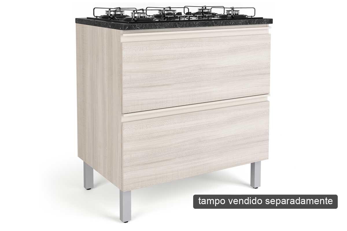 Gabinete Cooktop de Cozinha Itatiaia Belíssima Plus IGH2-80 COOK Madeira Horizontal 2 Ptas 4 ou 5 Bocas s/Tampo - Cor Branco LaccaCor Saara Wood Lacca