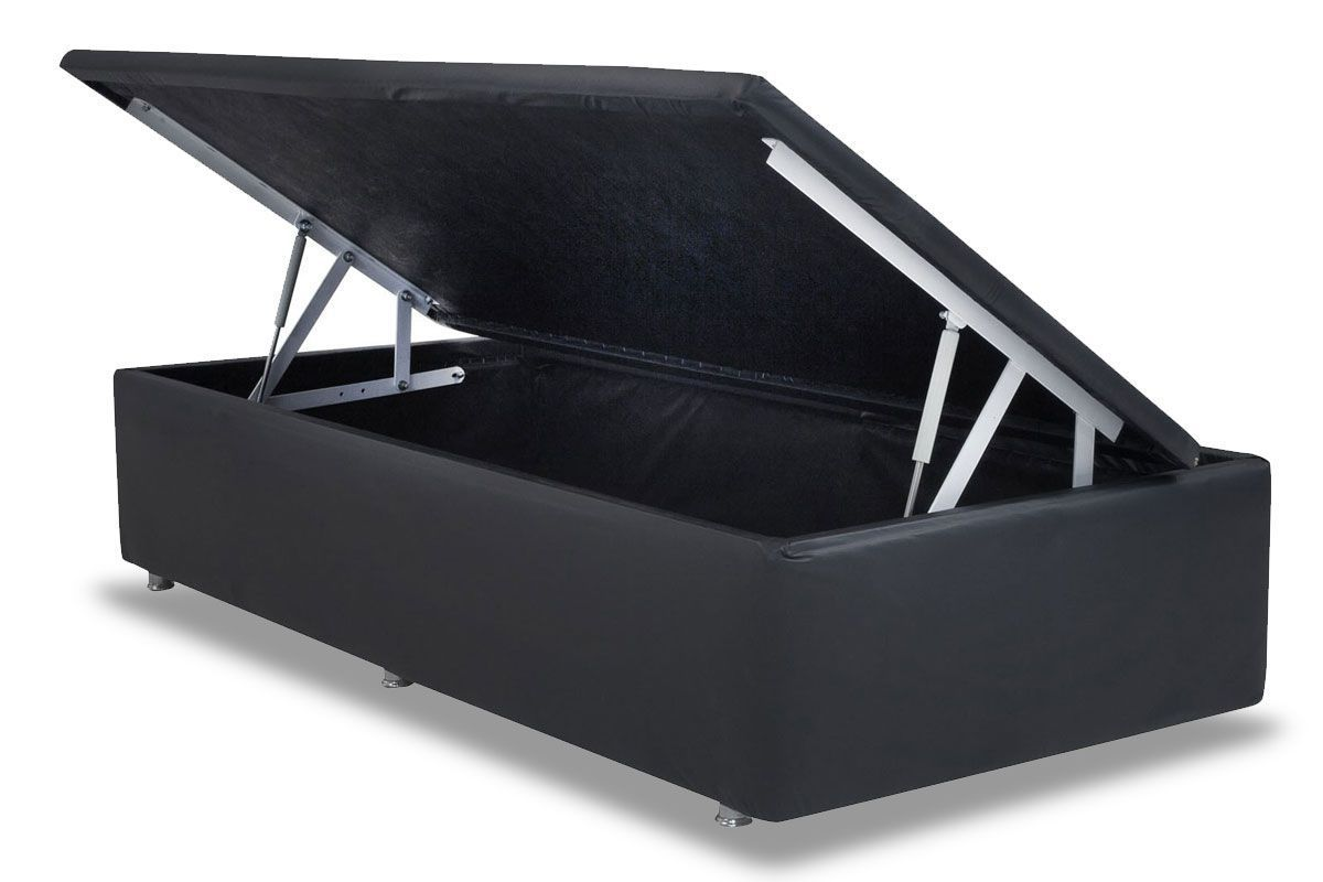 Cama Box Baú Ortobom Americana Courino Nero Black- Box Baú Physical Solteiro - 0,88x1,88 - Inteiriça