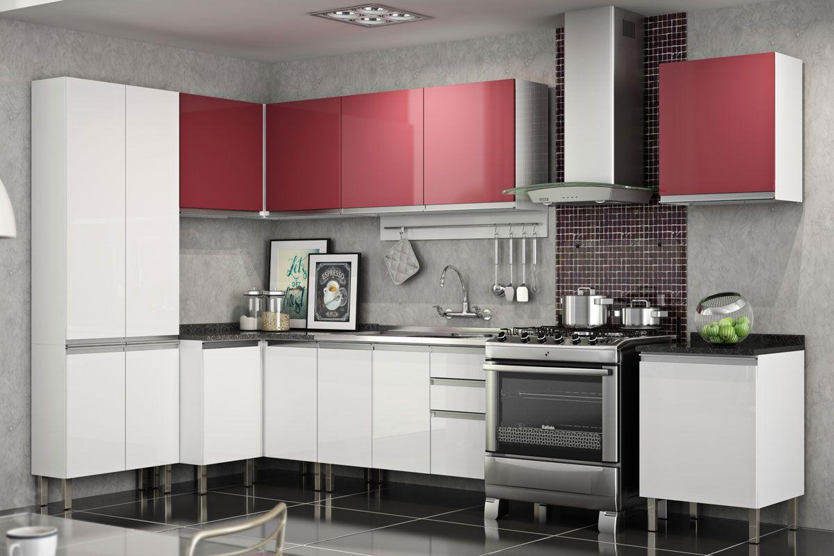 #7F383D Cozinhas de Aço Completas com Armário de Cozinha Itatiaia Clarice  1200x800 px Armario De Cozinha Compacto Vermelho #2013 imagens