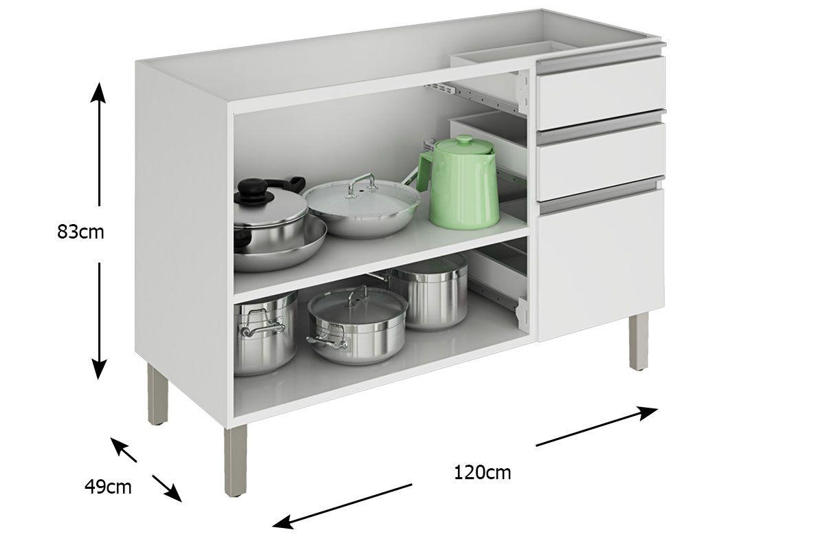 Gabinete de Cozinha Itatiaia Clarice IG3G3-120 2 Portas s/ Tampo