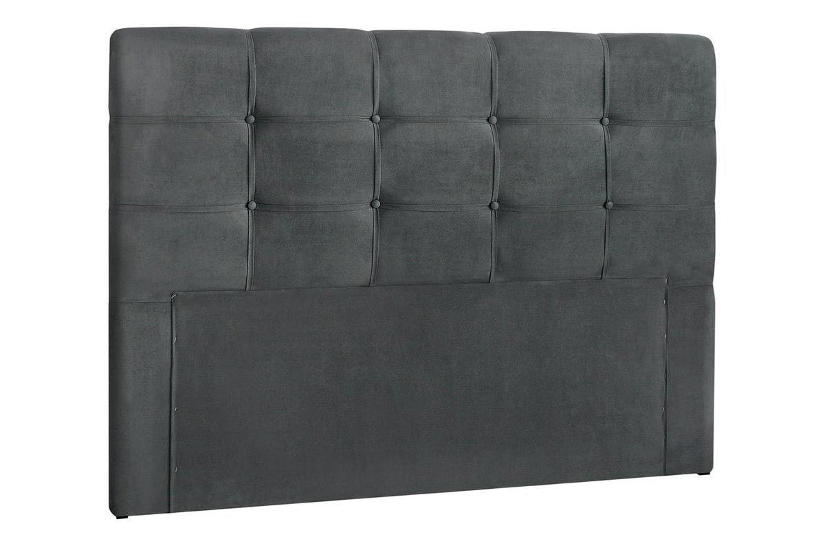 Cabeceira Cama Box Queen Simbal CleanQueen Size  -  Cor Nobuck Cinza Escuro