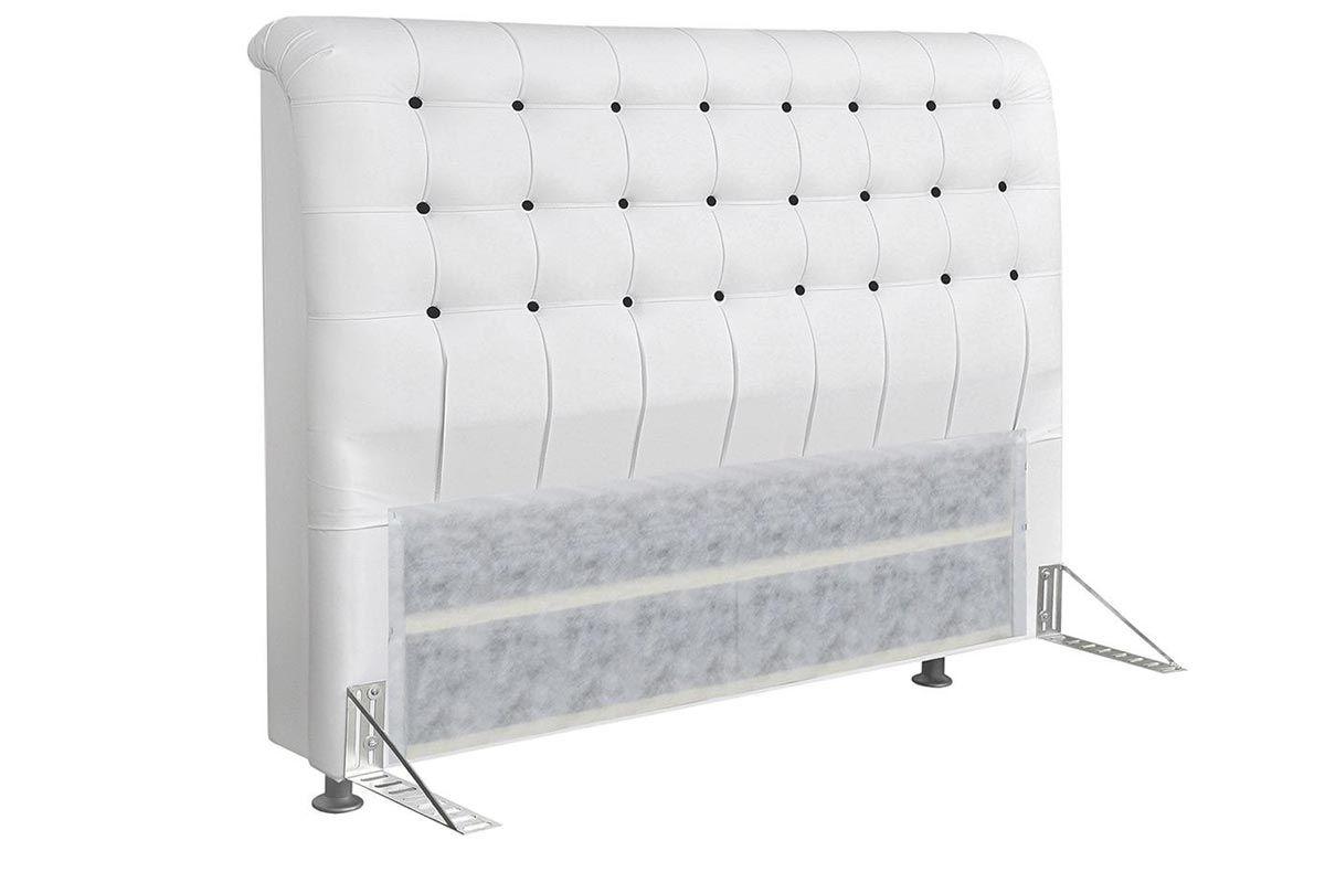 Cabeceira Cama Box Queen Simbal DamaQueen Size  -  Cor Couríno Branco c/ Botões Pretos