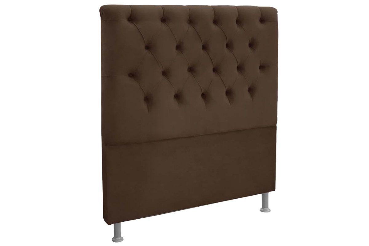 Cabeceira Cama Box King Size Simbal EmbaixatrizKing Size  -  Cor Nobuck Marrom Chocolate
