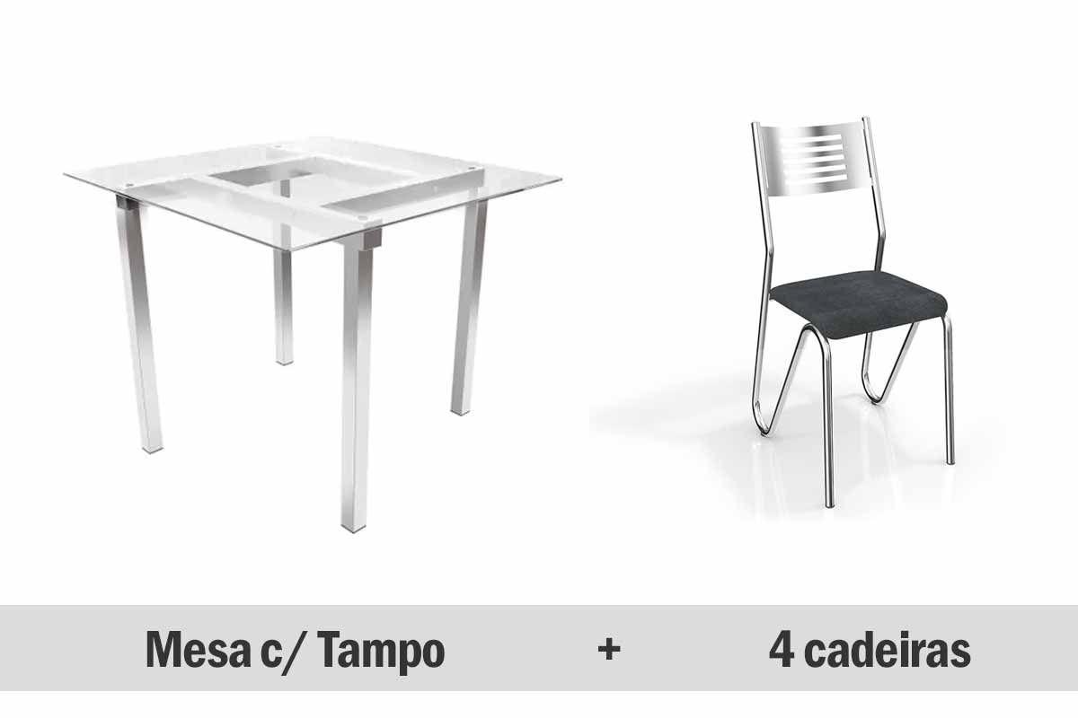 Mesa de Jantar Kappesberg Aldan Cromada + 4 Cadeiras Nápoles Cromadas