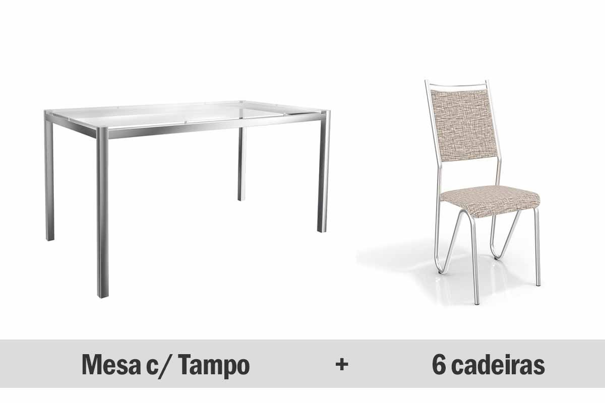 Mesa de Jantar Kappesberg Reno Cromada + 6 Cadeiras Londres Cromadas