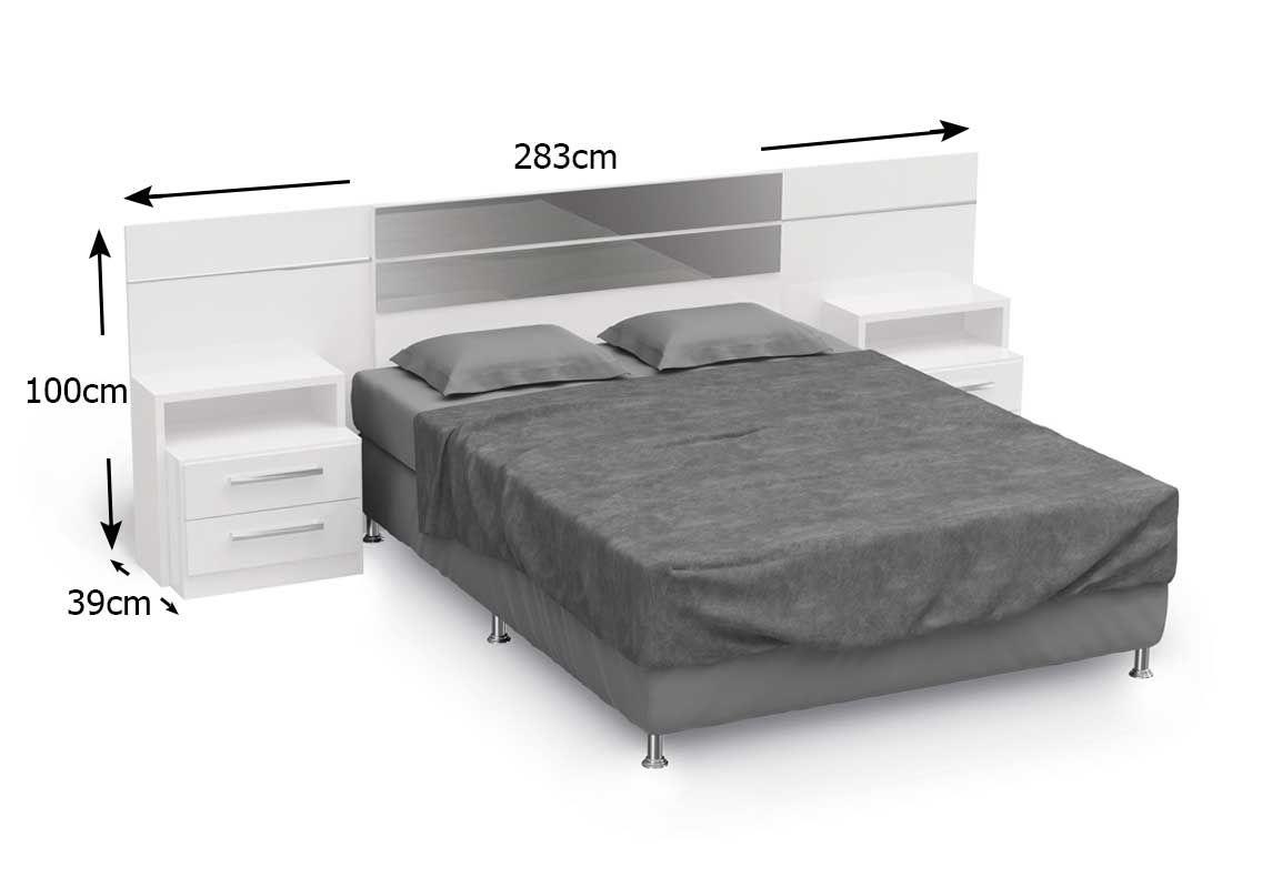 Cabeceira Box Kappesberg B290 com 2 Criados Casal/Queen - Cor Branco