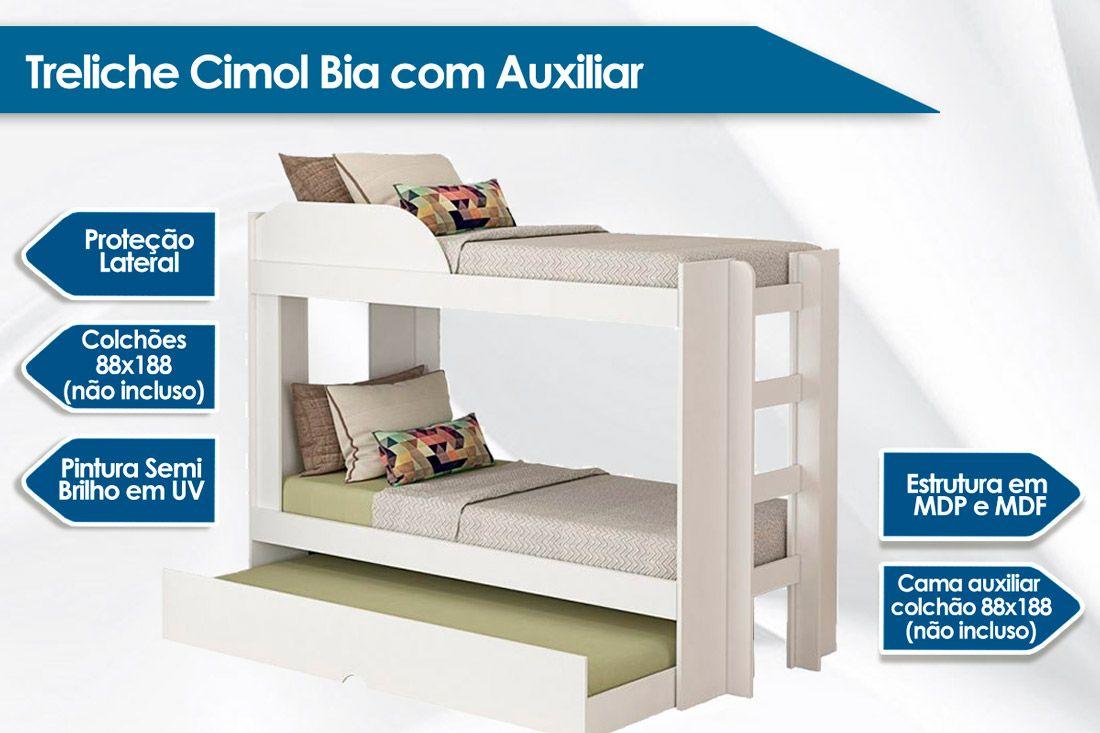 Treliche Cimol Bia com Auxiliar (2 Camas + Cama Auxiliar)