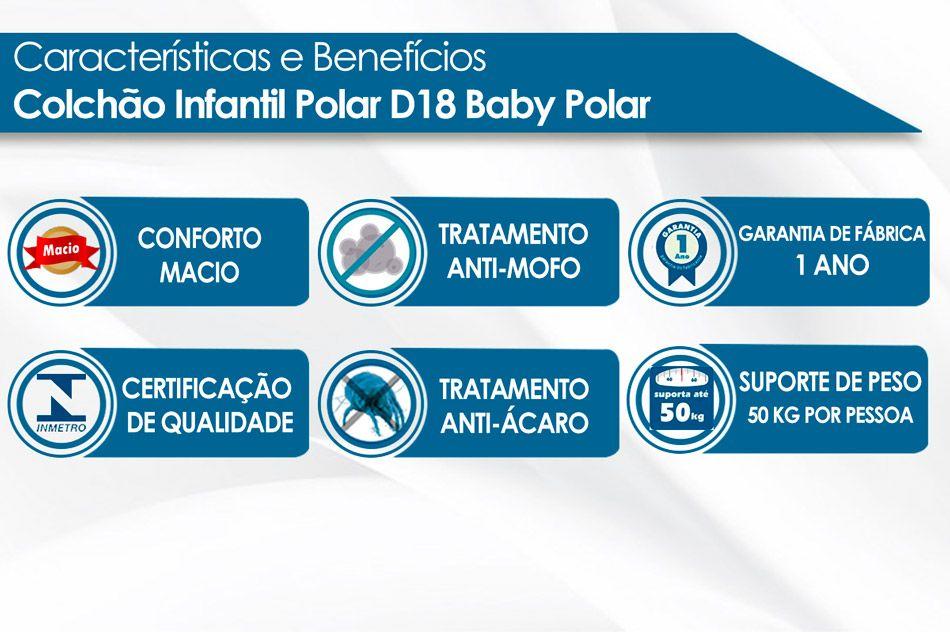 Colchão Infantil Espuma D18 Baby Polar e Juvenil