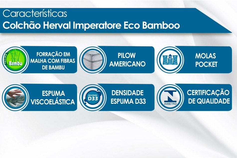 Colchão Herval Pocket Imperatore Eco Bamboo-King - 1,93x2,03x0,34