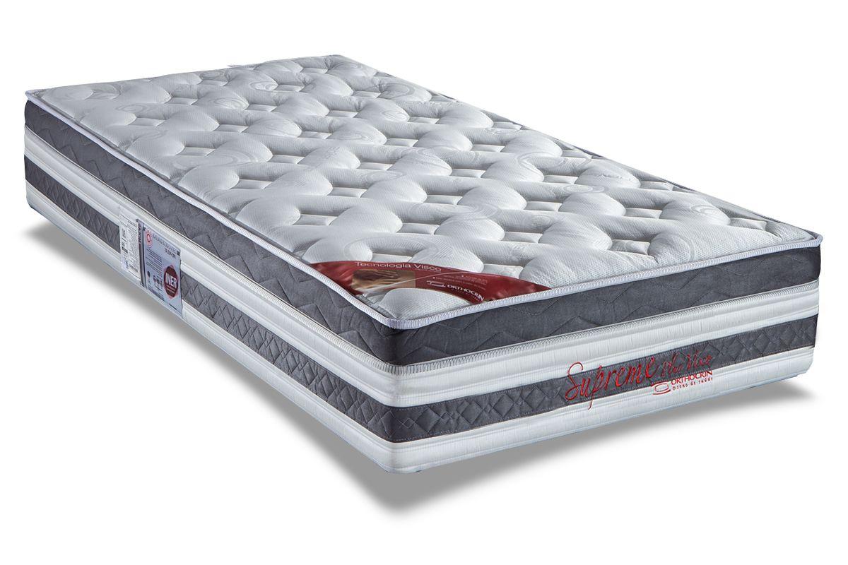 Colchão Orthocrin Molas Pocket Supreme Plus BrancoColchão Solteiro - 0,88x1,88x0,34 Sem Cama Box