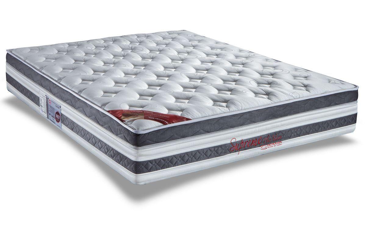 Colchão Orthocrin Molas Pocket Supreme Plus BrancoColchão Queen Size - 1,58x1,98x0,34 - Sem Cama Box