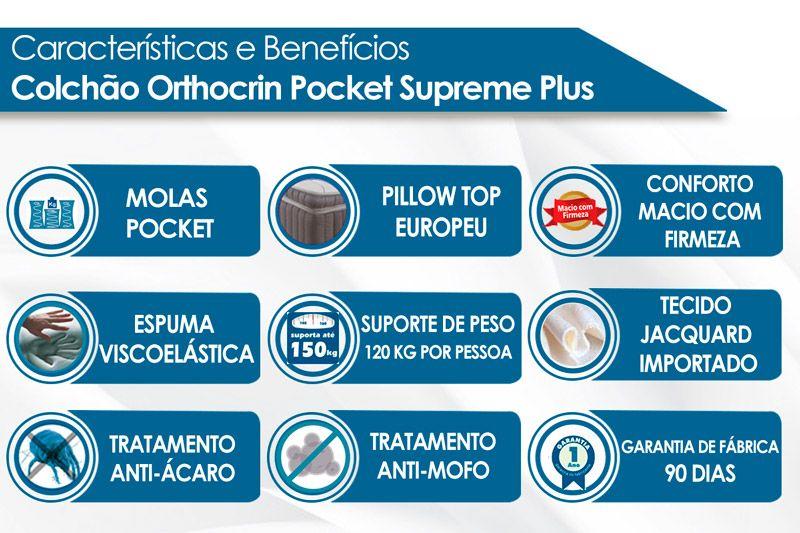 Colchão Orthocrin Molas Pocket Supreme Plus Branco