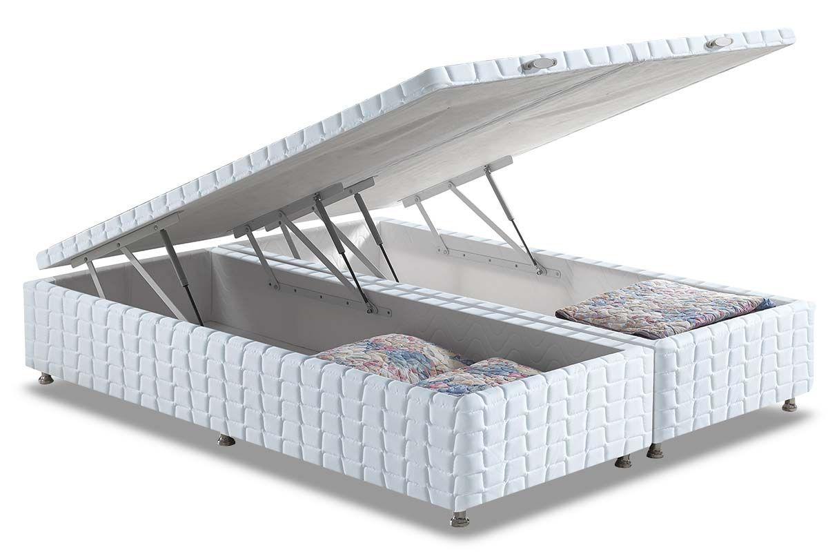 Cama Box Baú Anjos WhiteCama Box Queen Size - 1,58x1,98x0,35 - Sem Colchão