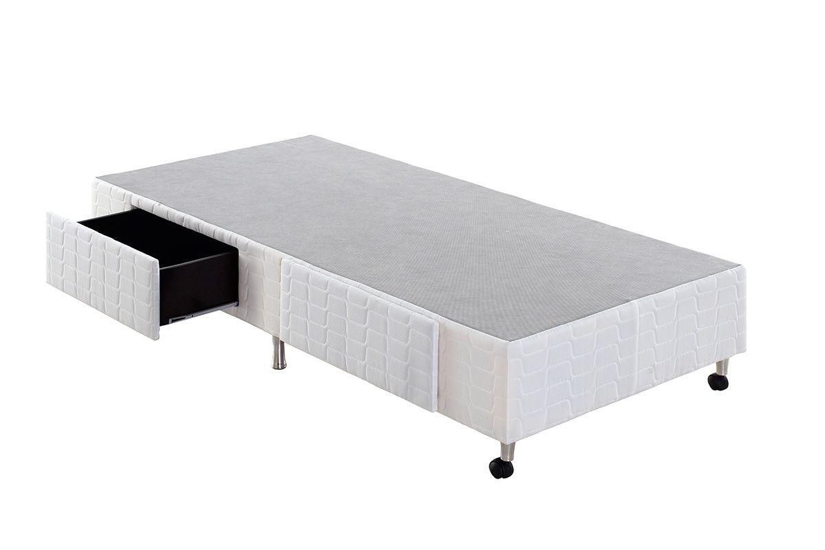 Cama Box Base Anjos Tecido c/ Gavetas WhiteCama Box Solteiro - 0,88x1,88x0,25 - Sem Colchão