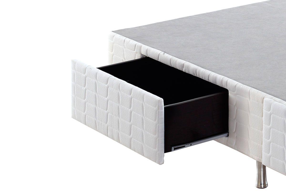 Cama Box Base Anjos Tecido c/ Gavetas White