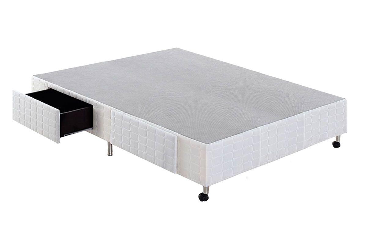Cama Box Base Anjos Tecido c/ Gavetas WhiteCama Box Casal - 1,38x1,88x0,25 - Sem Colchão