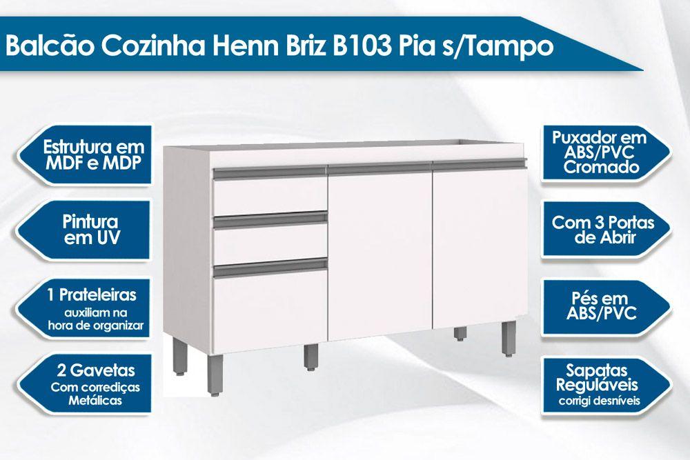 Balcão Cozinha Henn Briz B103 Pia s/Tampo