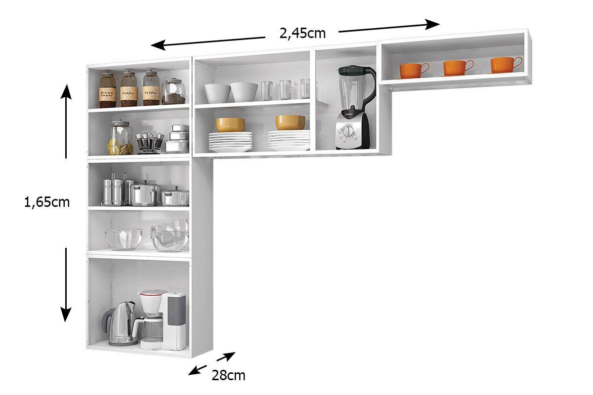 Cozinha Completa Itatiaia Luce COZ 3V Aço (Paneleiro Armários Nicho) #AF461C 1200 800