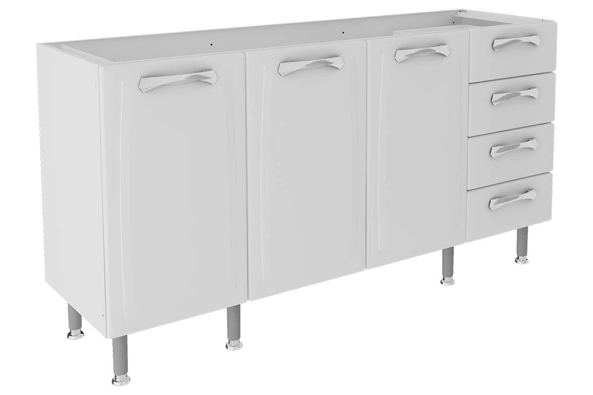 Gabinete (Balcão) de Cozinha Itatiaia Premium IG4G4ST-160 AçoCor Branco