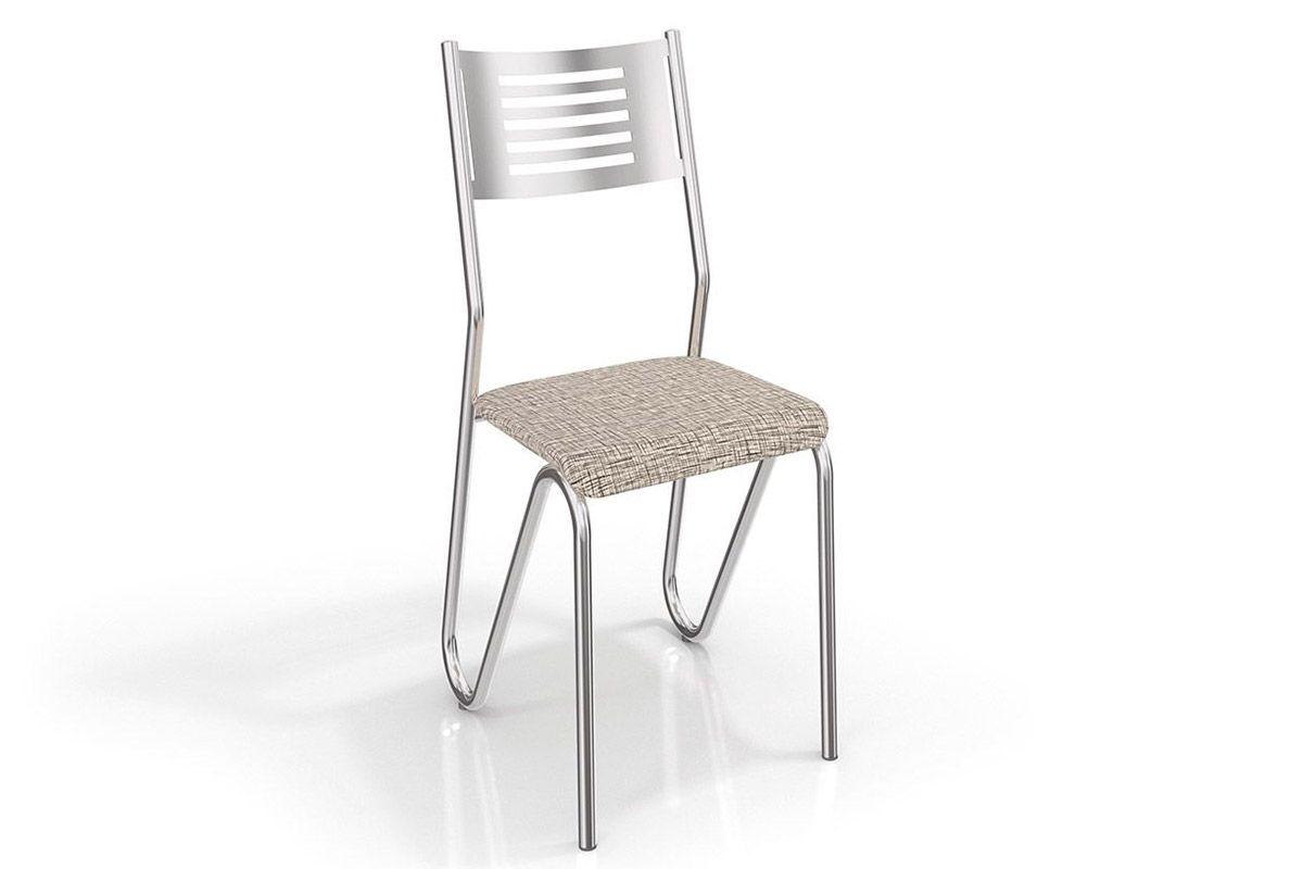 Cadeira Kappesberg Nápoles 4C045Cor Cromado  -  Assento Linho Marrom 22