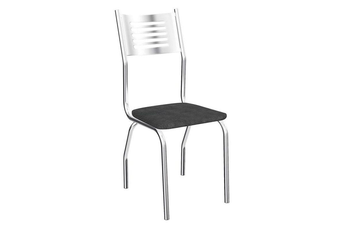 Cadeira Kappesberg Munique 4C047Cor Cromada  -  Assento Preto Linho Cinza 17