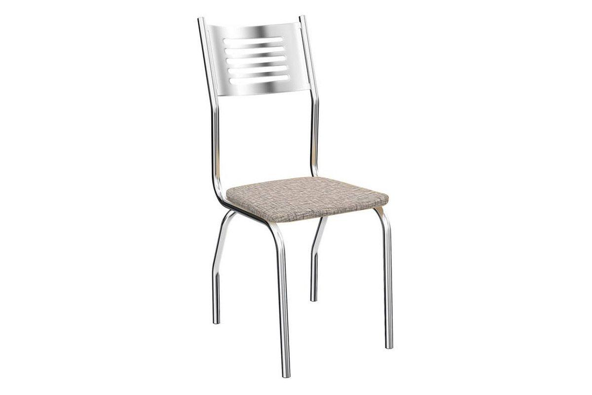 Cadeira Kappesberg Munique 4C047Cor Cromado  -  Assento Linho Marrom 22