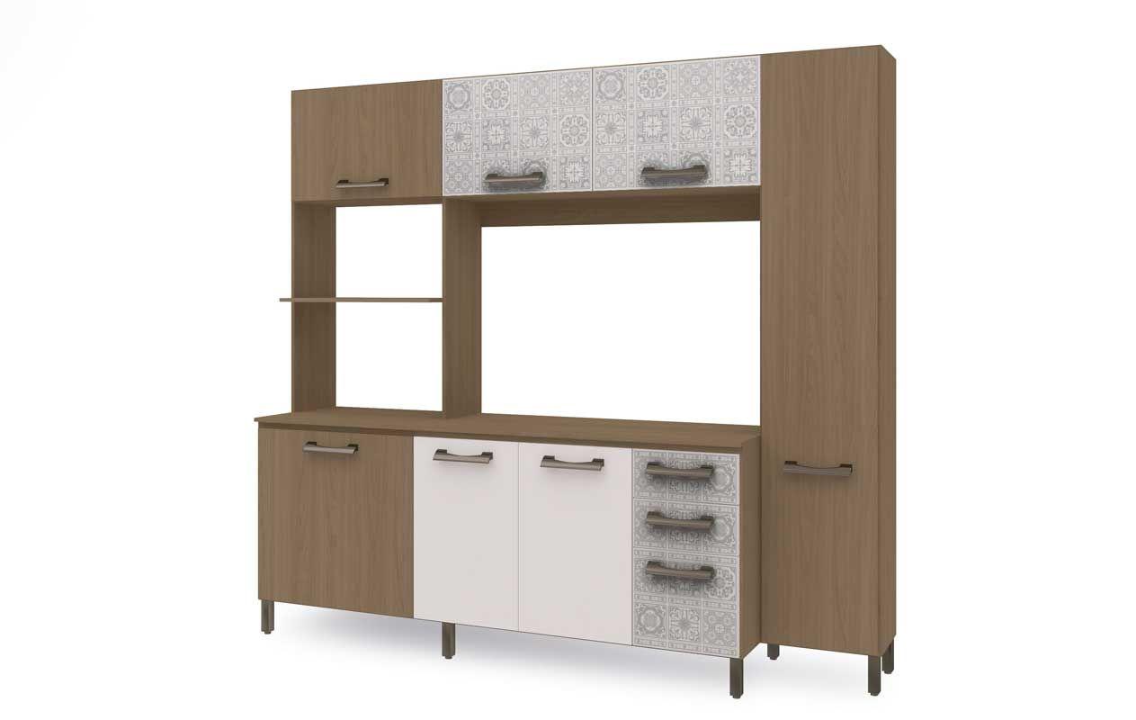 #5F4C38 Kit de Cozinha Kappesberg E780 Compacta Cor Nature c/ Branco Azulejo 1263x800 px Armario De Cozinha Compacta Branco #1927 imagens
