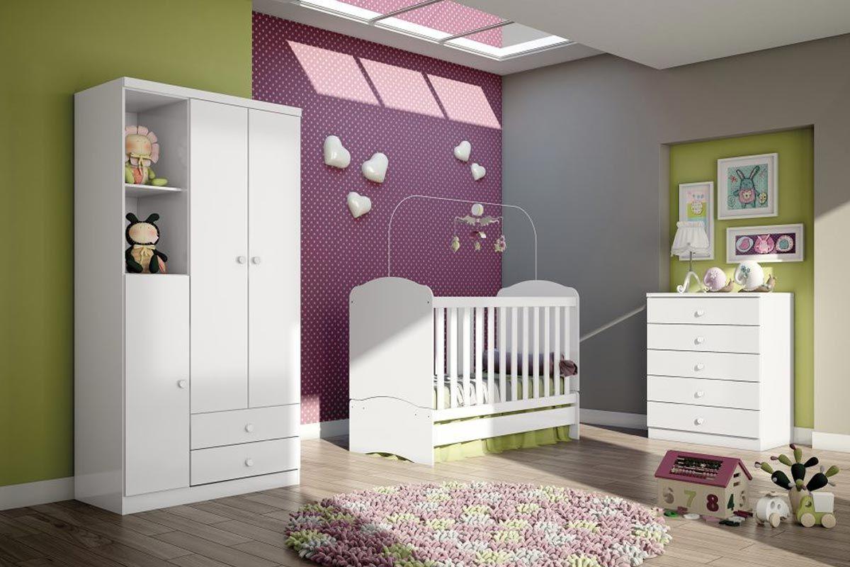 Guarda Roupa Infantil (Bebê) Henn Bala de Menta c/ 3 Ptas