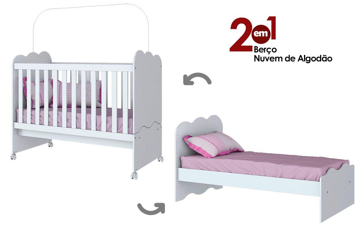 Berço e Mini Cama Infantil Henn Nuvem de Algodão 2 em 1