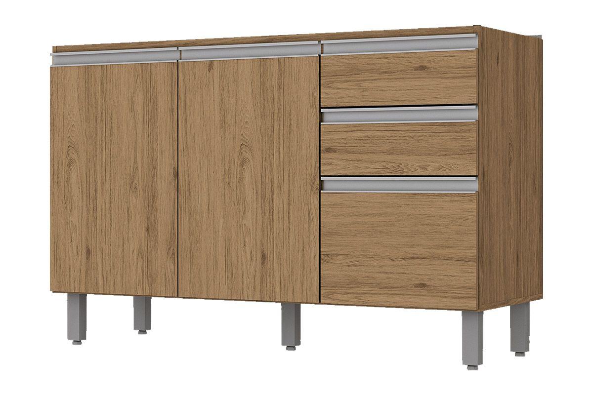 Gabinete (Balcão) de Cozinha Henn Integra c/ 3 Portas e 2 Gavetas p/ Pia 120cm s/TampoCor Rústico