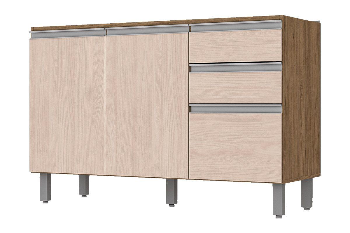 Gabinete (Balcão) de Cozinha Henn Integra c/ 3 Portas e 2 Gavetas p/ Pia 120cm s/TampoCor Rústico c/ Fendi