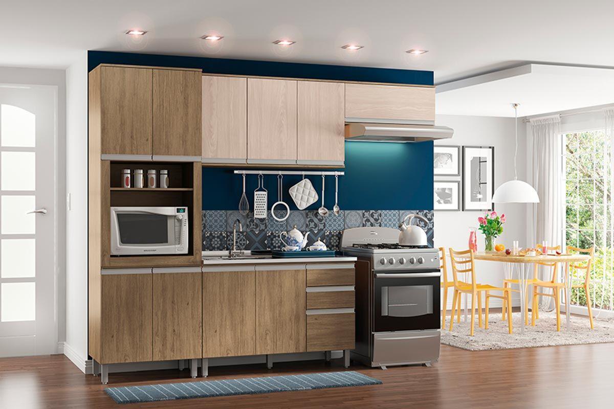 Gabinete (Balcão) de Cozinha Henn Integra c/ 3 Portas e 2 Gavetas p/ Pia 120cm s/Tampo