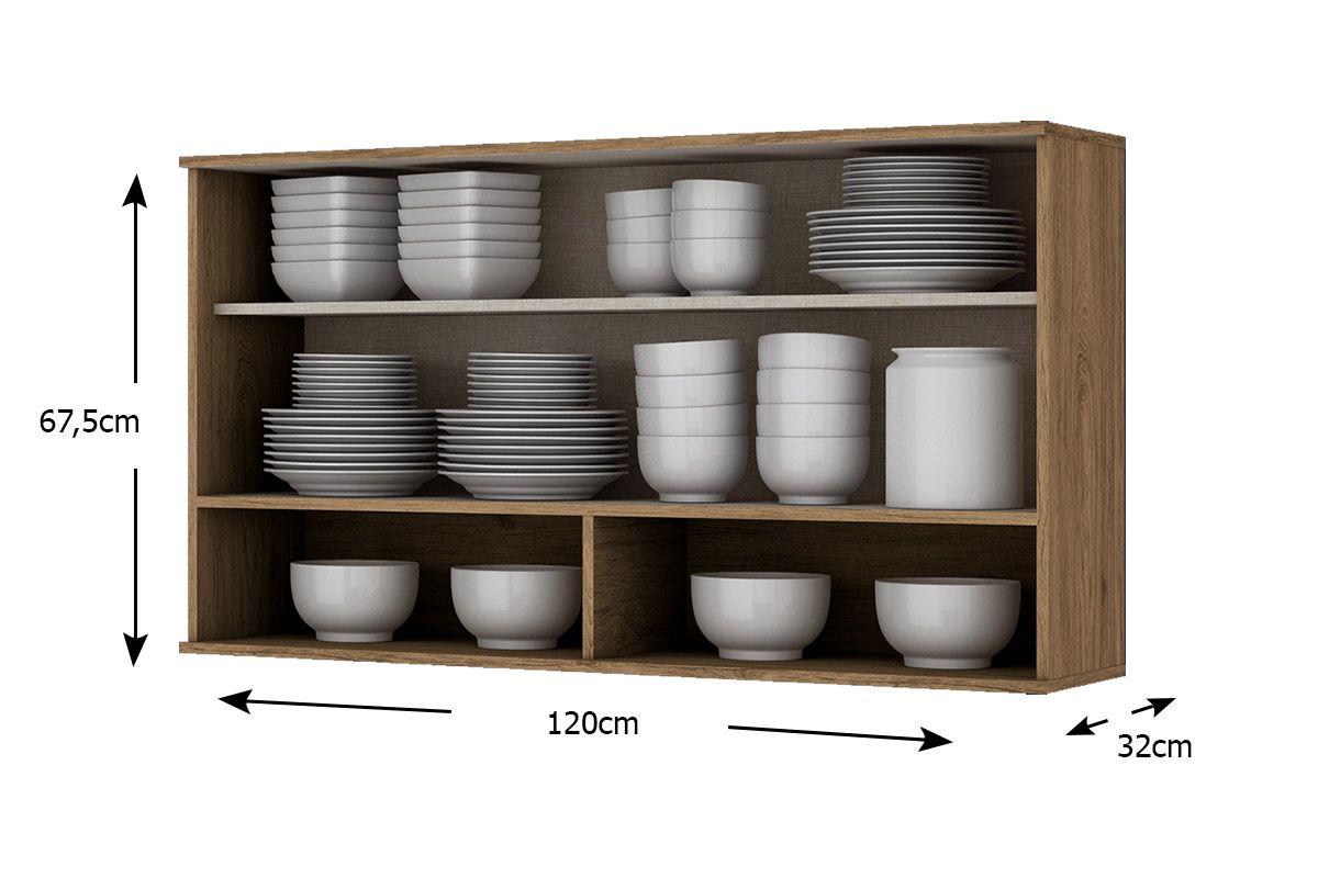 Armário de Cozinha Henn Aéreo Integra c/ 1 Porta Basculante de Vidro 120cm
