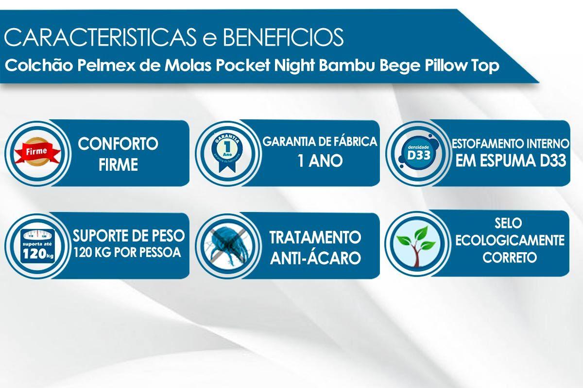 Colchão Pelmex Molas Pocket Night Bambu Bege