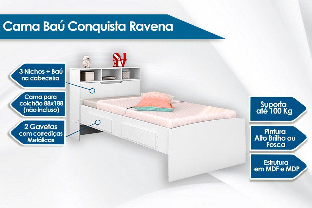 Cama Baú de Solteiro Conquista Ravena c/ 2 Gavetas