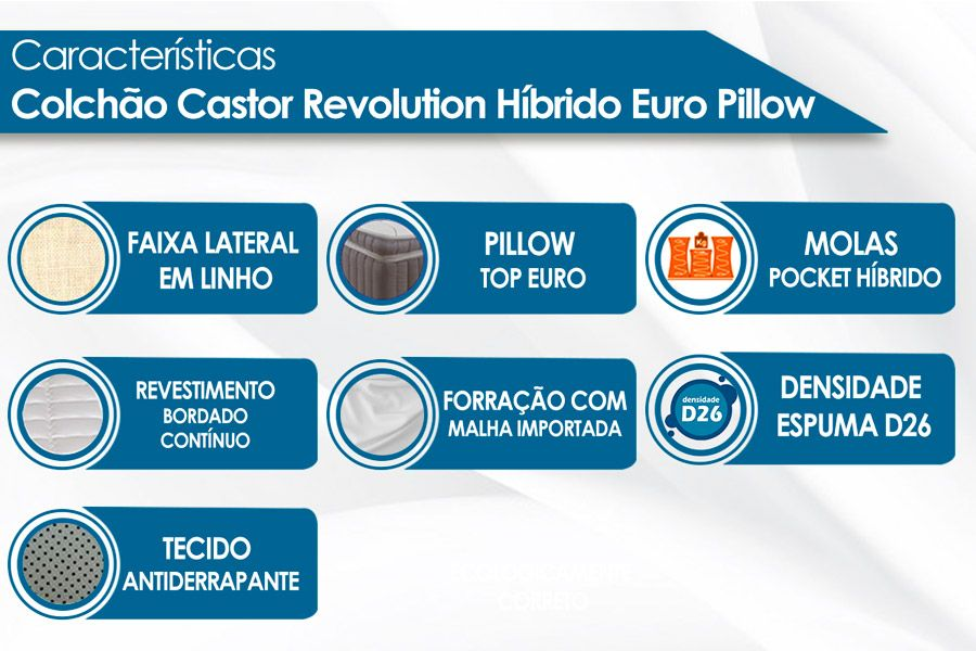 Colchão Castor Molas Pocket Revolution Híbrido