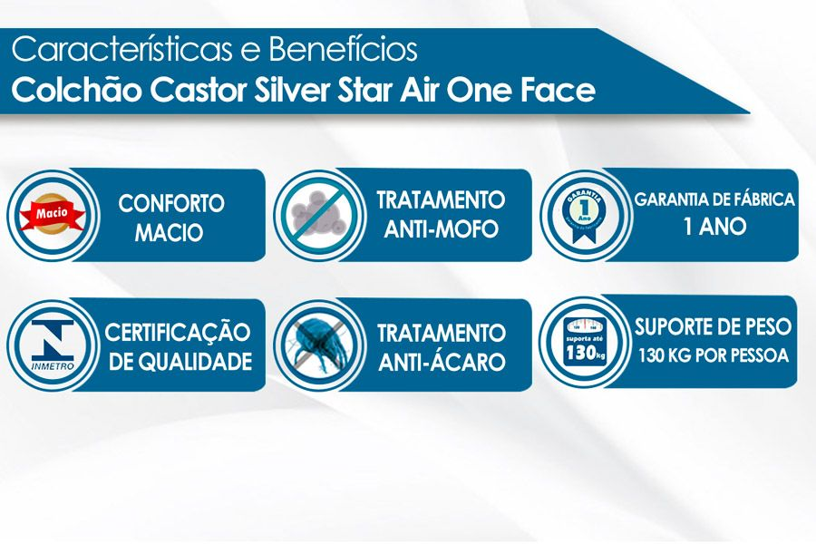 Colchão Castor Molas Bonnel Silver Star Air