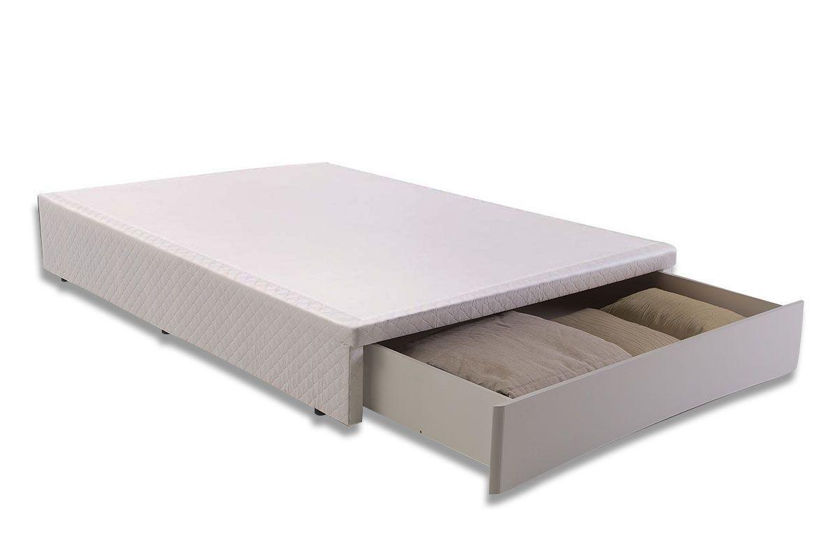 Cama Box Base Herval MH 1819 c/ Gaveta Frontal Tecido BrancoCama Box Queen Size - 1,58x1,98x0,30 - Sem Colchão