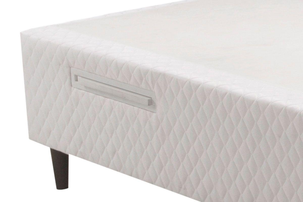 Cama Box Herval MH 1815 c/ Prateleira e Porta Copo Tecido Branco